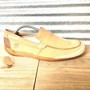 Timberland Men's Tan Leather Slip-on Loafers, EUC